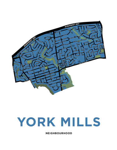 York Mills Neighbourhood Map Print