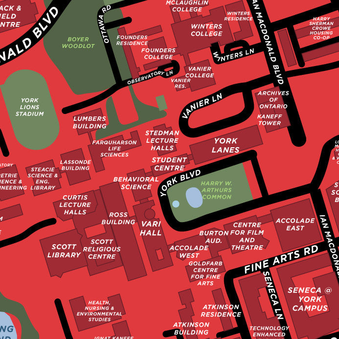 York Keele Campus Map York University   Keele Campus Map Print – Jelly Brothers