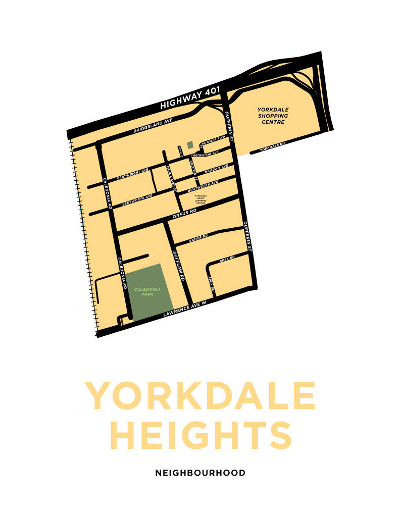 Yorkdale Heights Neighbourhood Map Print