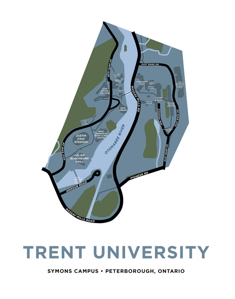 Trent University Map Print (Peterborough, Ontario)