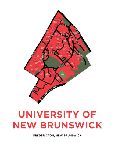 University of New Brunswick - Fredericton Campus Map Print