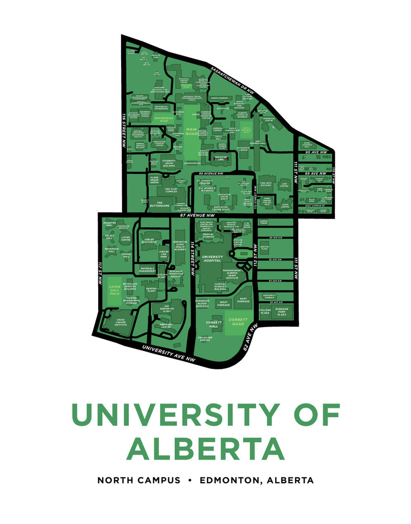 University of Alberta Campus Map Print