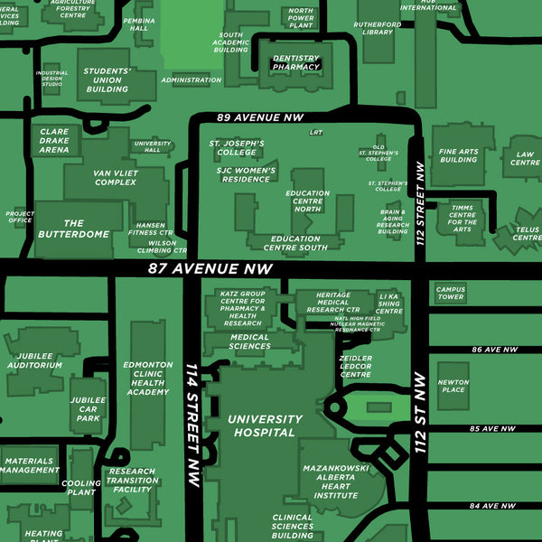 University Of Alberta Campus Map Print Jelly Brothers