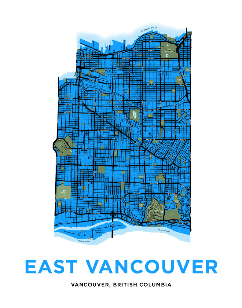 East Vancouver Map Print