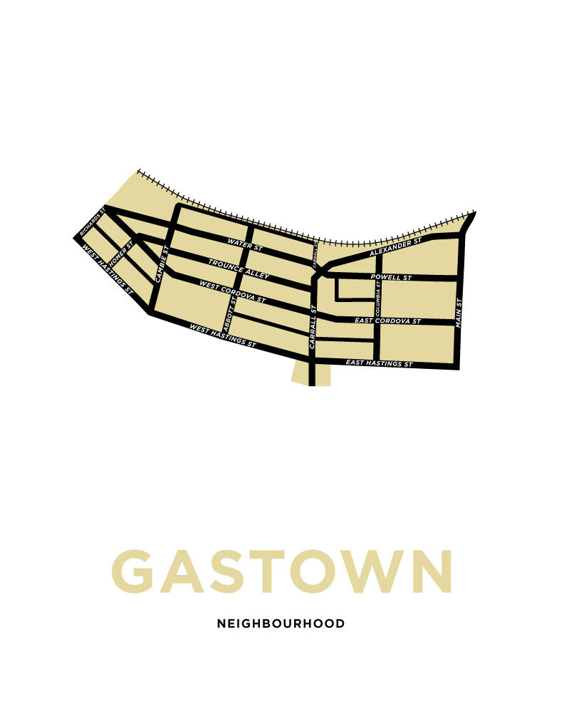 Gastown Neighbourhood Map Print