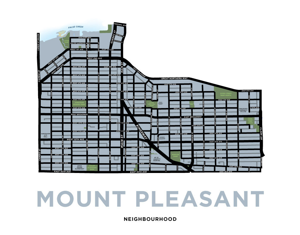 Mount Pleasant Neighbourhood Map Print