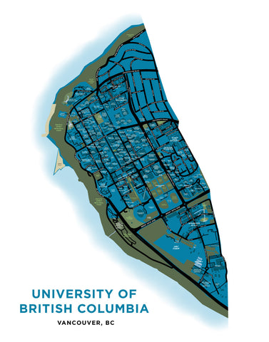University of British Columbia Campus Map Print