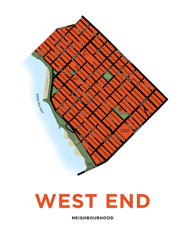 West End Neighbourhood Map Print (Vancouver)