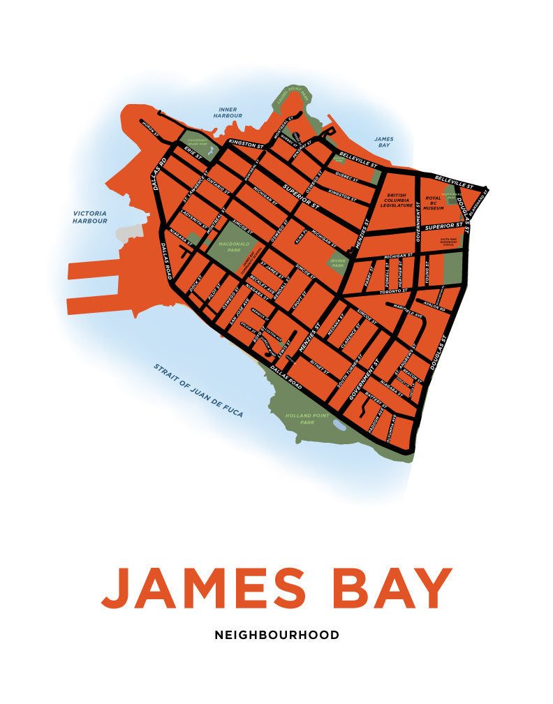 James Bay Neighbourhood Map Print