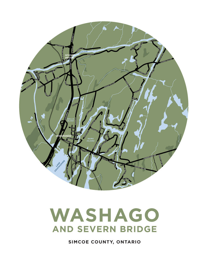 Washago and Severn Bridge Map Print