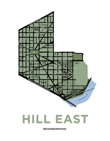 Hill East Neighbourhood Map Print