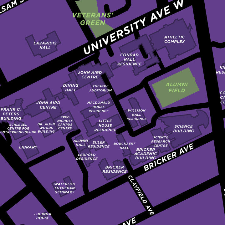 wilfrid laurier campus map Wilfrid Laurier University Waterloo Campus Map Print Jelly Brothers wilfrid laurier campus map