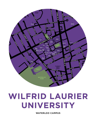 Wilfrid Laurier University - Waterloo Campus Map Print