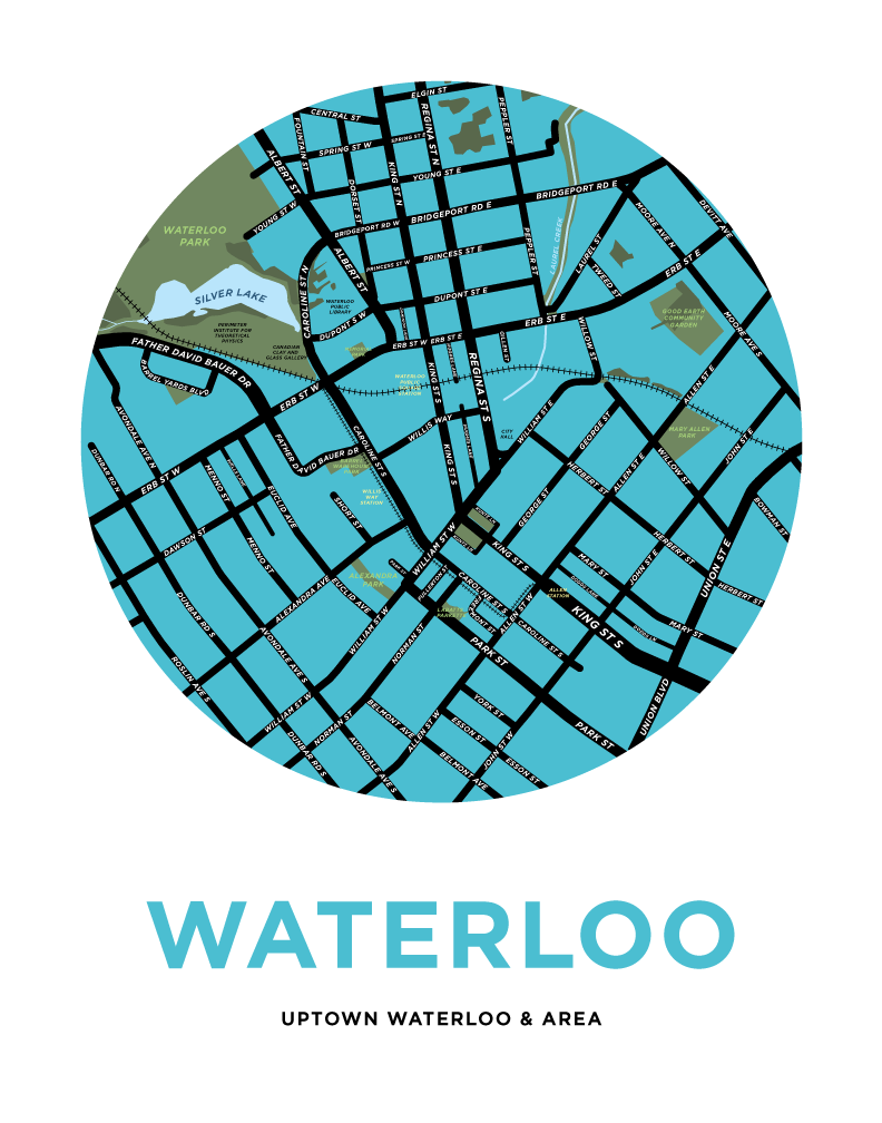 Uptown Waterloo Map Print