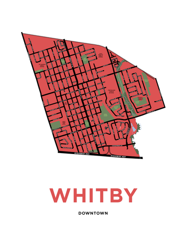 Downtown Whitby Neighbourhood Map Print