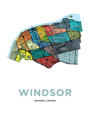 Windsor Neighbourhoods Map Print