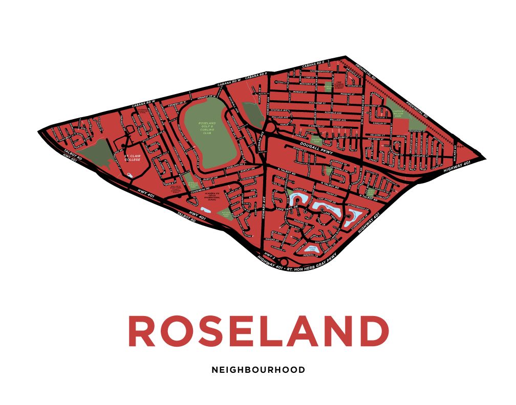 Roseland Neighbourhood Map Print (Windsor)