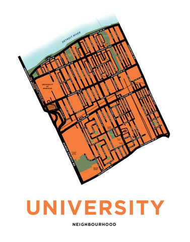 University Neighbourhood Map Print (Windsor)