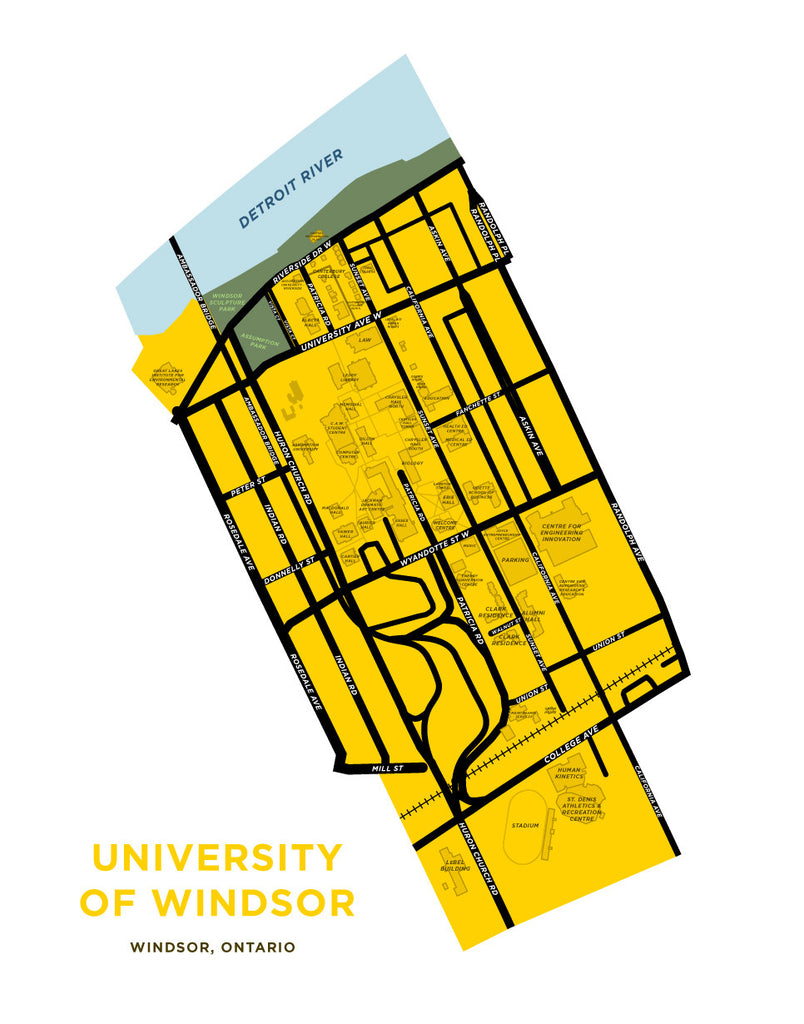 University of Windsor Campus Map Print