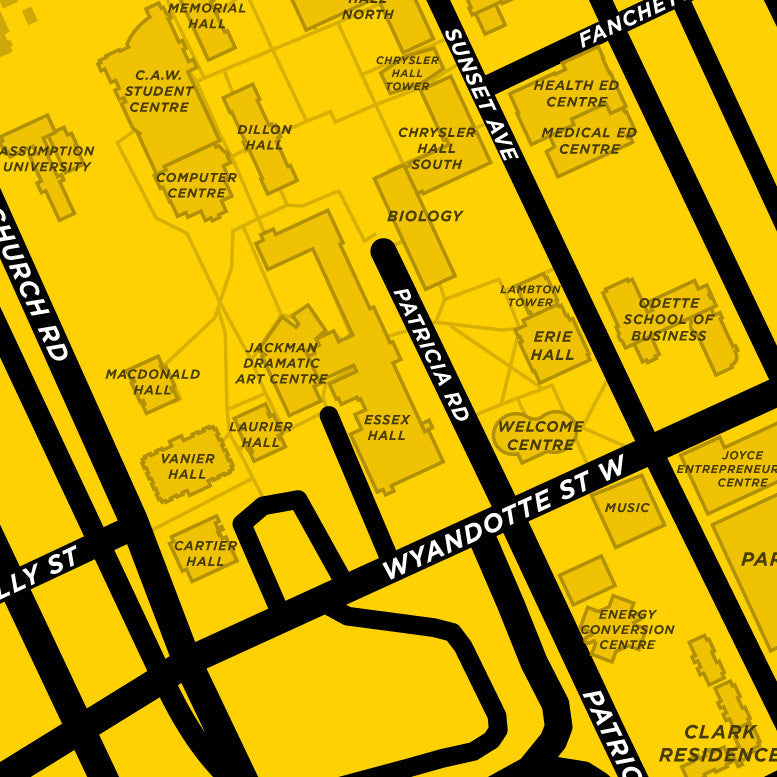 U Of W Map University of Windsor Campus Map Print – Jelly Brothers
