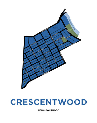 Crescentwood Neighbourhood Map Print