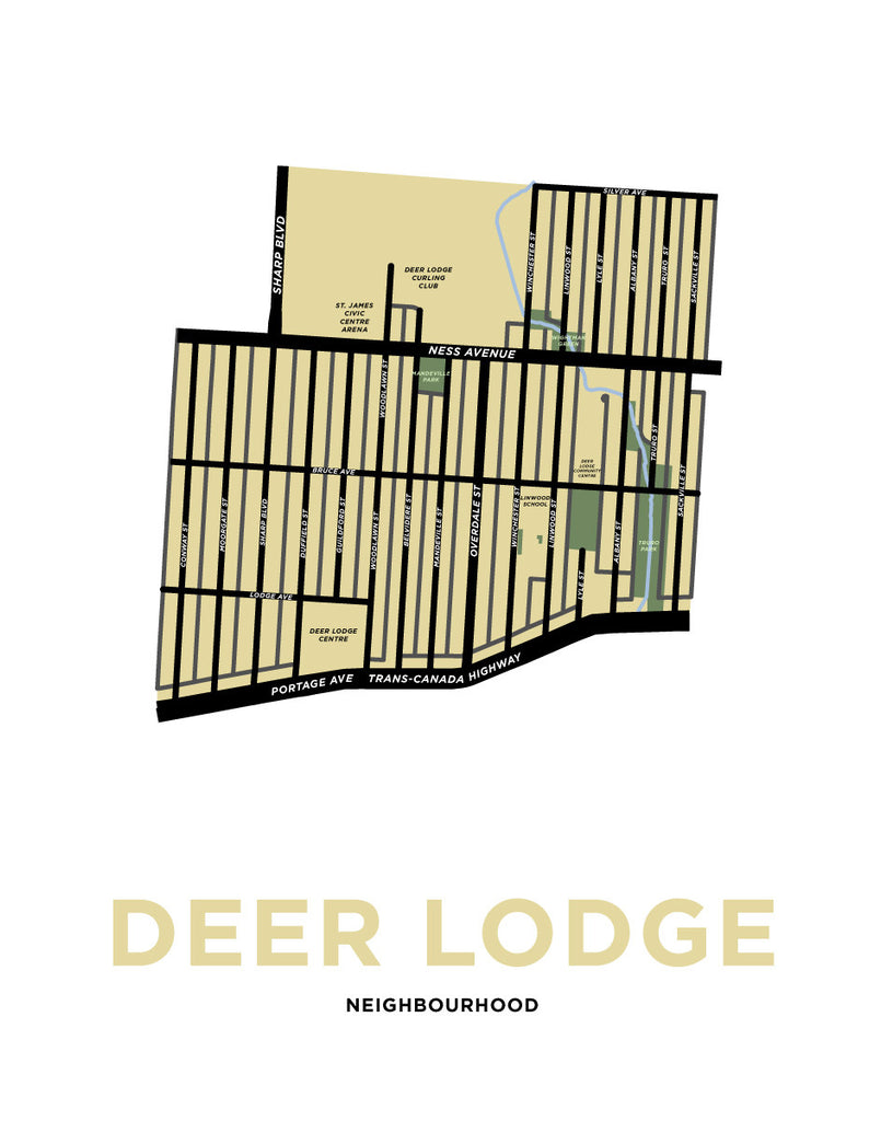 Deer Lodge Neighbourhood Map Print (Winnipeg)