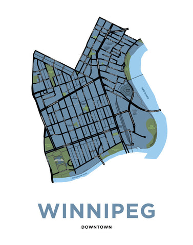 Downtown Winnpeg Neighbourhood Map Print