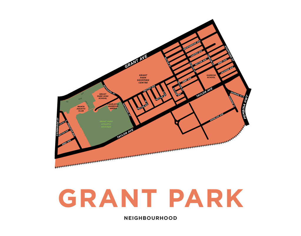 Grant Park Neighbourhood Map Print