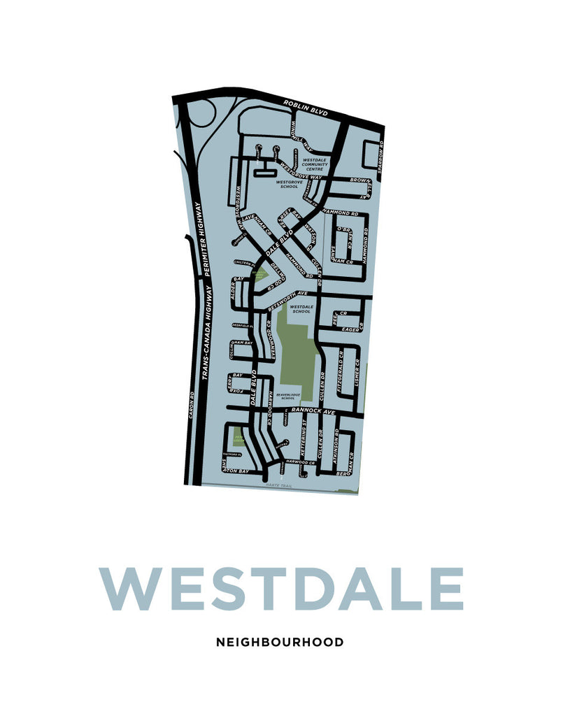 Westdale Neighbourhood Map Print (Winnipeg)