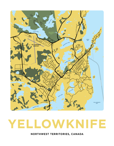 Yellowknife Map Print
