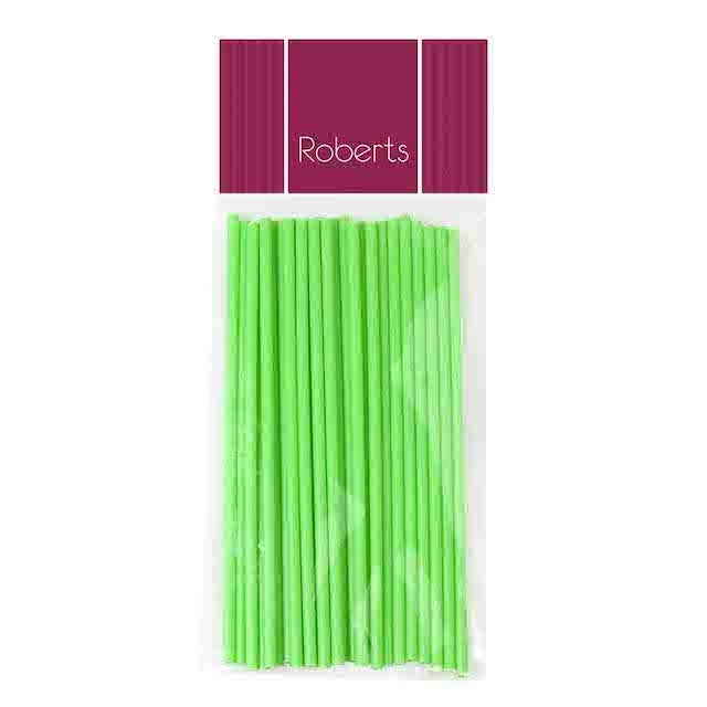 Lollipop Sticks 15cm LIME GREEN 25pk