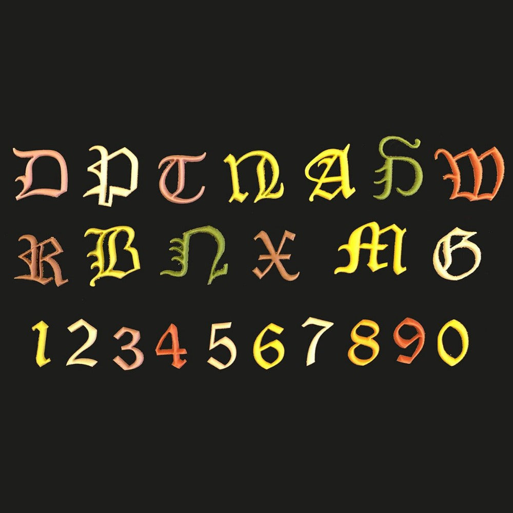 FMM OLD ENGLISH Alphabet Uppercase and Number tappit set