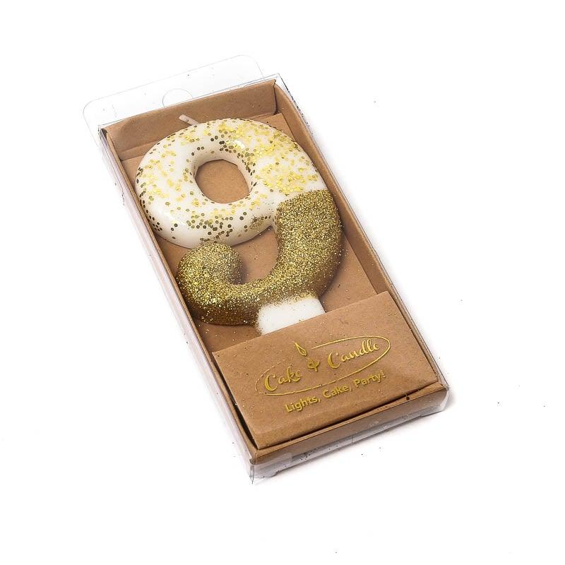 Cake Candle Gold Dipped 8cm NUMBER 9