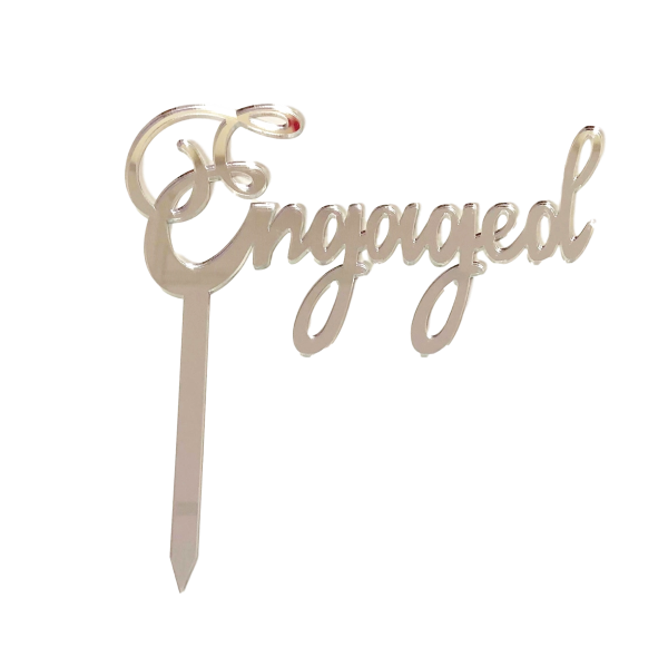 Engaged Silver Mirror Cake Topper