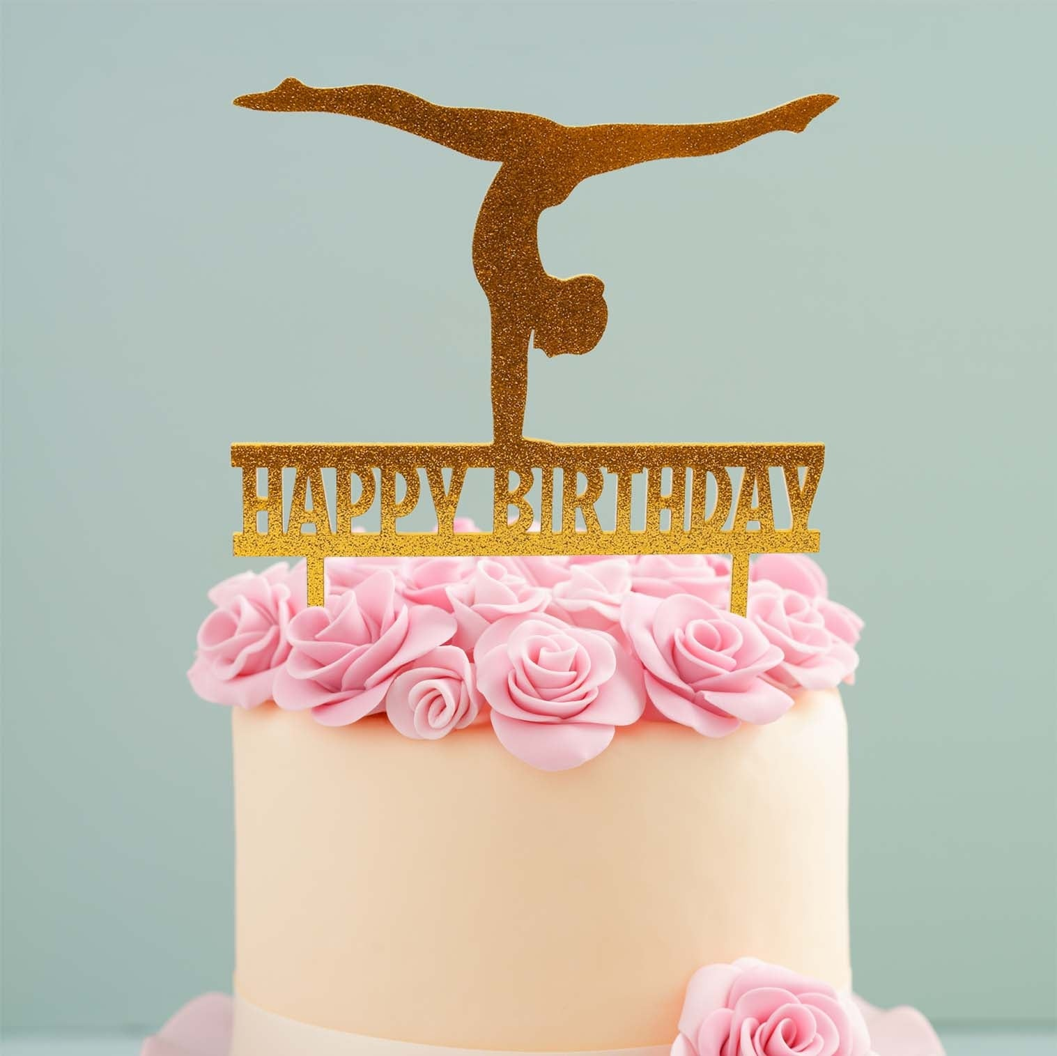 GYMNAST GOLD Acrylic Cake Topper