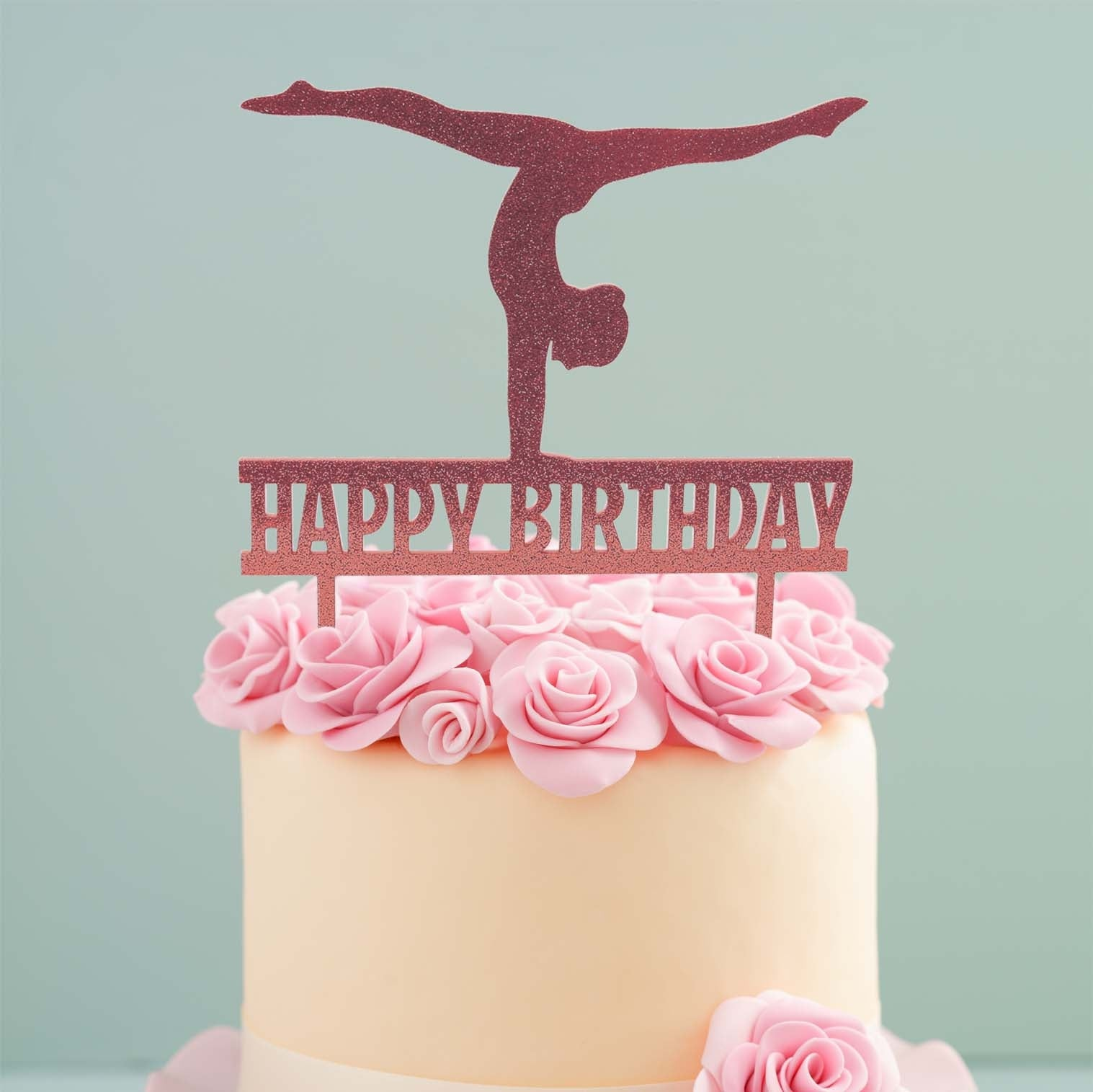 GYMNAST PINK Acrylic Cake Topper