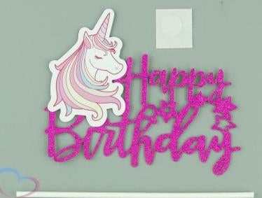 Happy Birthday Unicorn Glitter Topper