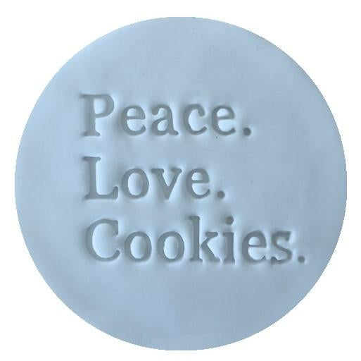 PEACE LOVE COOKIES EMBOSSER 60MM by Little Biskut