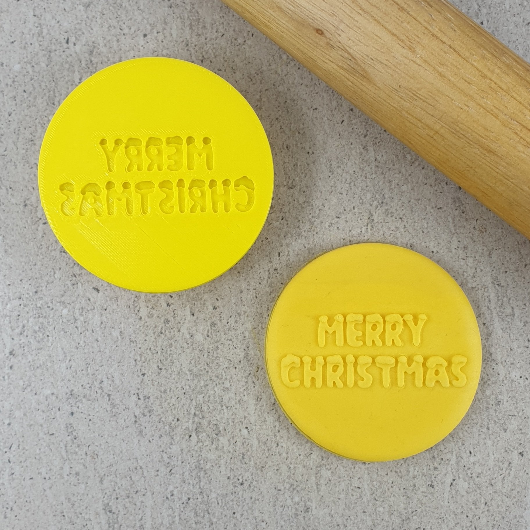 MERRY CHRISTMAS SNOW 3D COOKIE EMBOSSER (50MM)