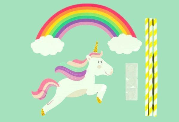 Rainbow Unicorn Yellow Paper Topper Set