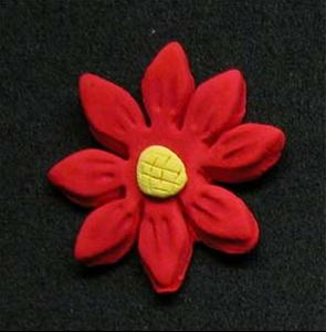 Daisy Cupcake Decorations RED 10 Pack