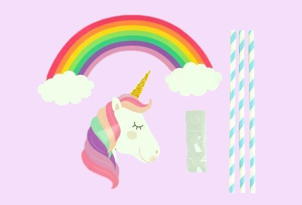 Rainbow Unicorn Blue Paper Topper Set