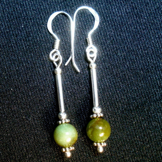 BUTTONGRASS JADE® EARRINGS. (J117)