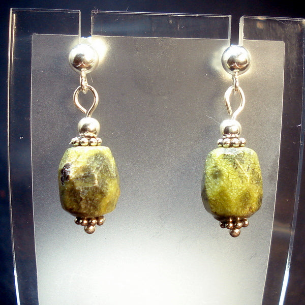 STICHTITE in SERPENTINE EARRINGS (J82)