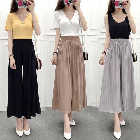 Summer Spring Women Chiffon Pleated Pants New Casual Loose Elastic