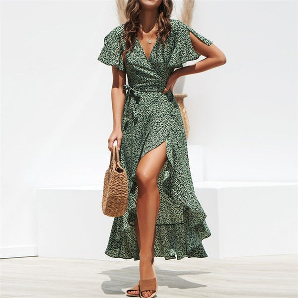Summer Beach Maxi Dress Women  Long Dress Ruffles Wrap Casual V-Neck Split Sexy Party Dress