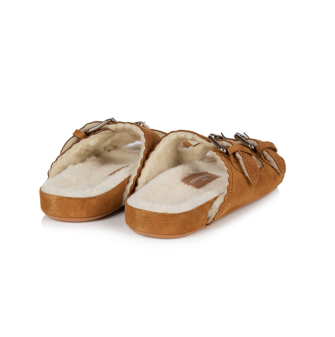 COSETTE: TAN SUEDE & LAMBSWOOL SANDALS