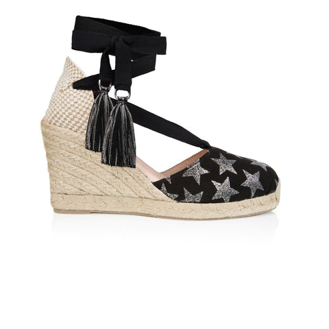 SHIMMIE: BLACK STAR ESPADRILLE WEDGES