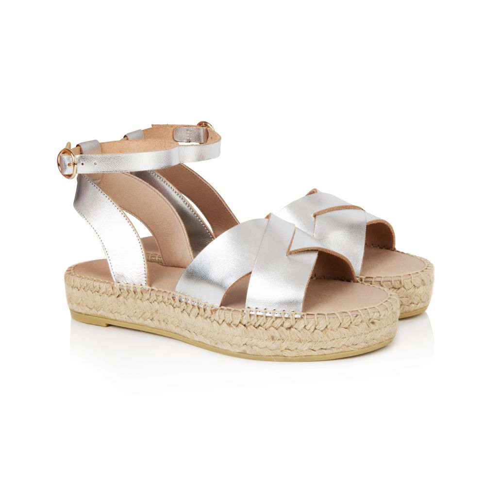 NOVA: SILVER LEATHER ESPADRILLE