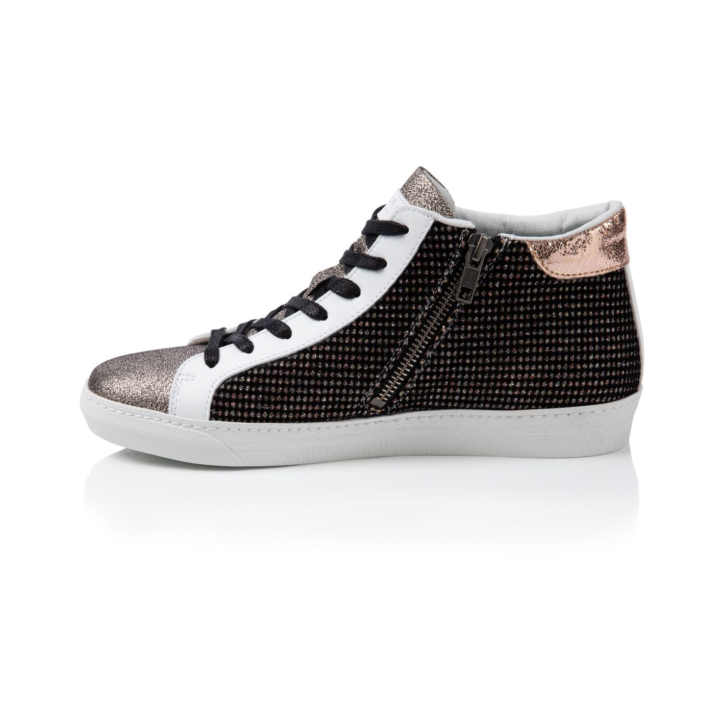 ALTO: MULTI SPARKLE VELVET HIGH TOP TRAINERS